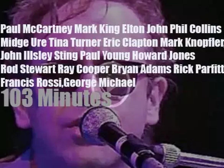 Eric, Elton, George et al attend the Prince's Trust Rock Gala (1986)