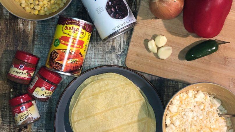 Easy Vegetarian Black Bean & Corn Enchilada Skillet