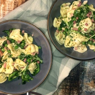 Easy Cheese Tortellini with Pancetta and Peas