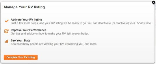 Activate RV Message for RV Listing