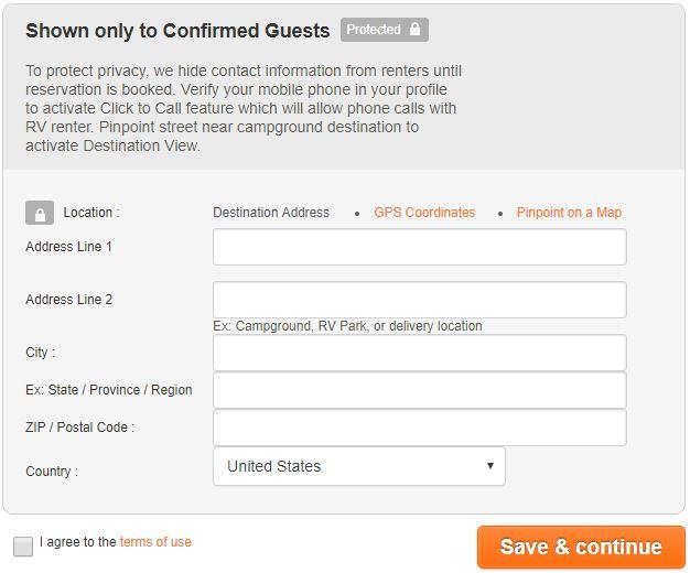 RV Listing Address form