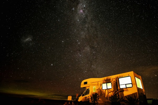 motorhome under a starry night