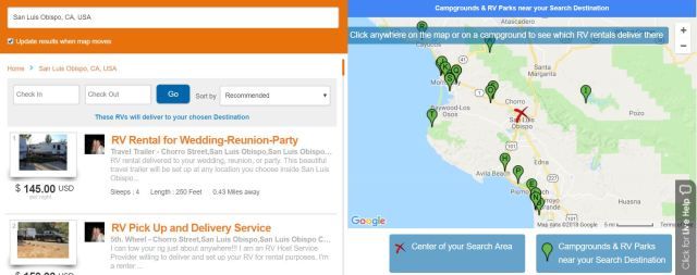 RV Listings and Map of Campgrounds