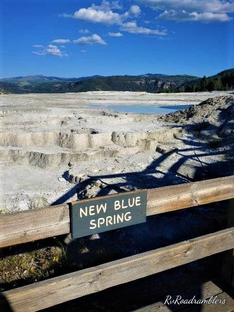 Picture of New Blue Spring at Mammoth Hot Springs in Yellowstone National Park
