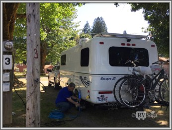 Stephen Hooked Up the Trailer at the Packwood RV Park