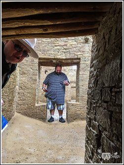 A Guy at T Door and Ranger Debbie in the Rain. Chaco Canyon, New Mexico