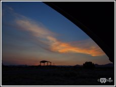 Sunset Framed by the Shelter on Campsite