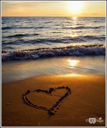 Art of Heart on Beach at Sunset