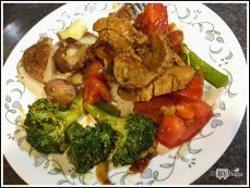 Pork Stir Fry with Tomatoes Bell Pepper And Broccoli
