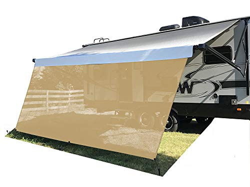 Tentproinc RV Awning Sun Shade Screen 7 X 193 Brown Mesh Sunshade UV Blocker Complete Kits Motorhome Camping Trailer Canopy Shelter 3 Years Limited Warranty
