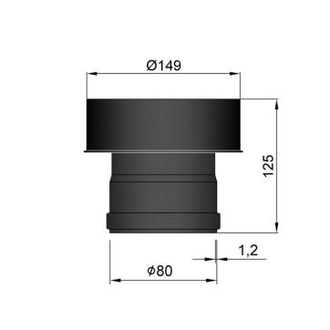 EW 80 1,2 mm verloop EW 80 naar EW 150 MM
