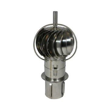 Kantelbare roterende kap van RVS met uitwendige lagers. Zelfklemmende insteekpijp voor kanalen van inwendig 200 mm.