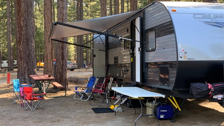 Set up at our first campground of the two month trip in South Lake Tahoe.