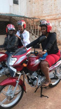 two motorcycles and drivers