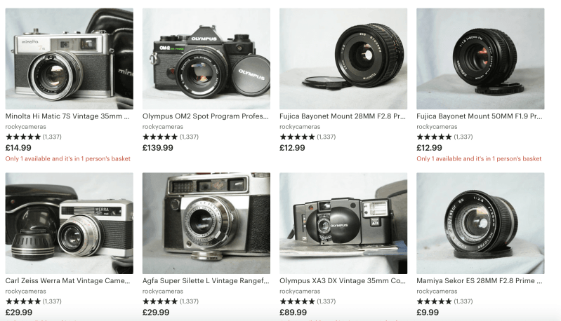 Etsy – Vintage Lenses and Cameras