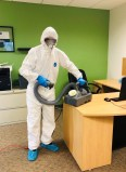 RWK Services technician disinfects for COVID-19.