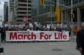 I've been to March for Life for 6 years. This is the first time I got ahead of the front of the crowd and get to see the giant March for Life banner heading towards me.