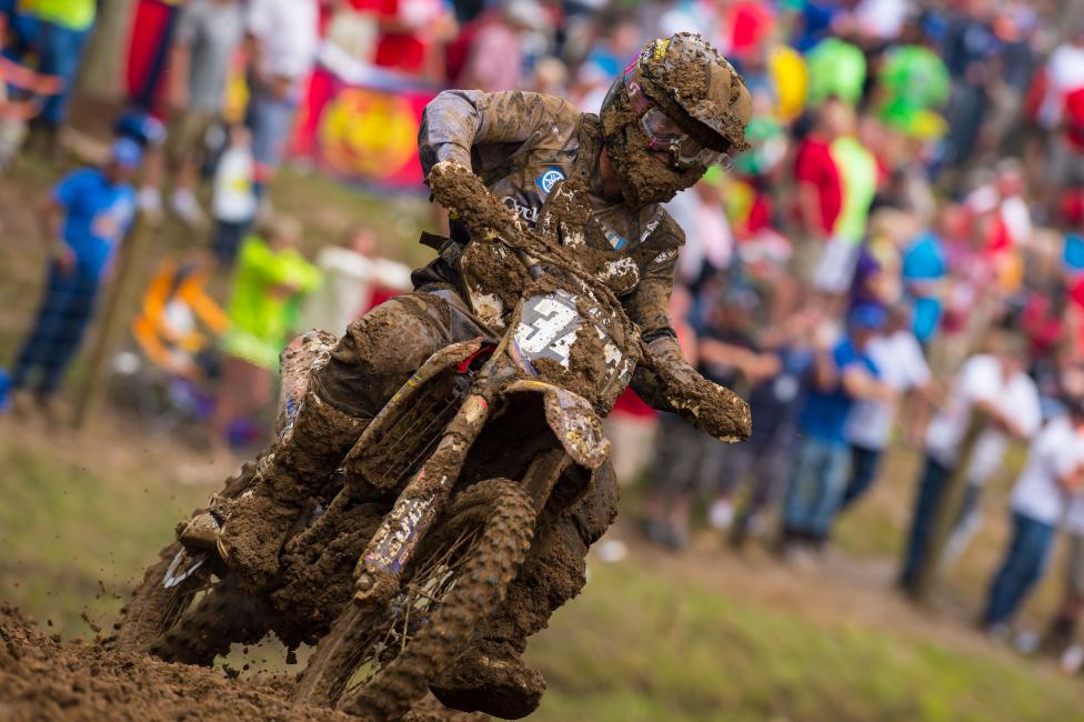 Renzland slops through the mud at the Indiana National, his second pro race.