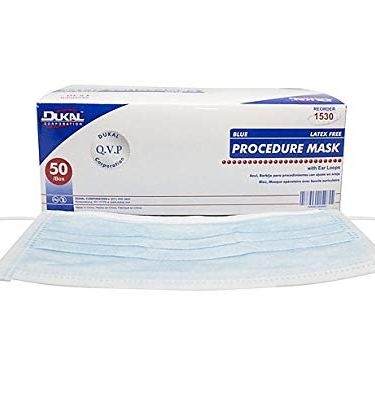 Surgical Mask Dukal  Pleated Earloop Blue Non-Sterile  (50/BX)