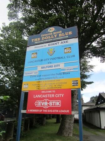 Next match at Lancaster City sign