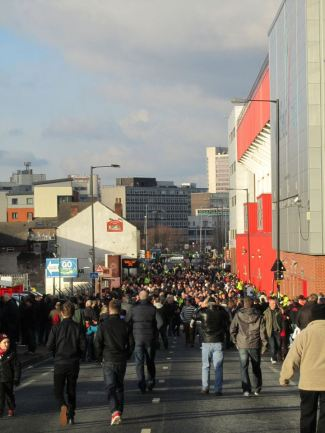 The crowds outside the ground