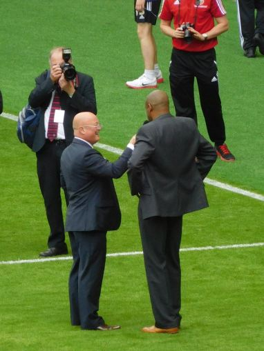 Brian Deane on the pitch where he scored the first ever Premier League goal 23 years ago today