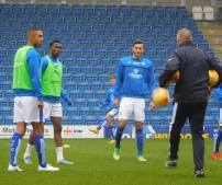 Byron Harrison, Gboly Ariyibi and Ollie Banks warm up