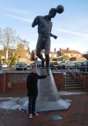 A statue dedicated to the Sproson family, three of whom played for the club