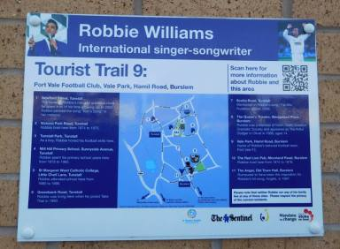Vale Park is part of the Robbie Williams tourist trail! The singer hails from Burslem