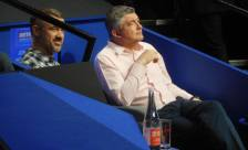 Stephen Hendry and John Parrott prepare to do a piece for the BBC