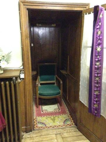The confessional where St. Claude affirmed that St. Margaret Mary's visions were authentic