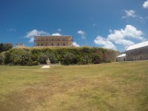 The Commissioner's House and Poseidon Statue inside the National Museum of Bermuda