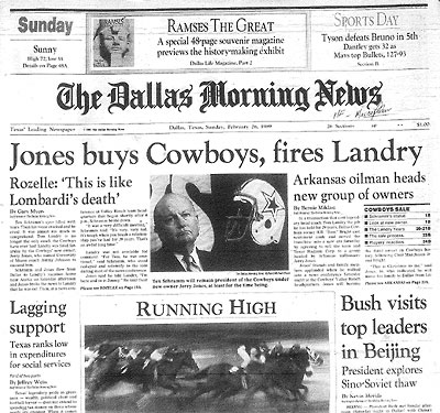 Jerry Jones rude dismissal of Tom Landry was forever immortalized within the pages of the Feb. 26, 1989 edition of the Dallas Morning News.  But, in Randy Galloways eyes, Landry was lucky he didnt have to work with the Cowboys new hands-on owner.