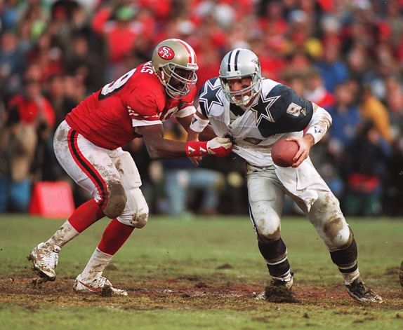 The 1994 NFC Championship Game between San Francisco and Dallas was played on one of the worst surfaces in the modern era.  More than two weeks of rain had combined to make an already soft Candlestick Park field into a virtual mud hole.