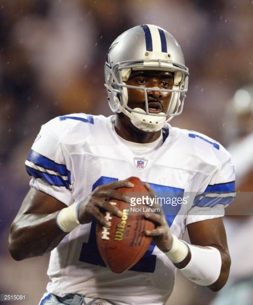 In the only Monday Night Football start of his career, Quincy Carter had a game for the ages, passing for a career-high 321 yards in the Cowboys' 35-32 overtime victory. In rainy conditions, Carter's 26-yard pass to Antonio Bryant along the left sideline allowed place-kicker Billy Cundiff to drill a 52-yard field-goal to tie the game at the end of regulation. Later in the extra period, Carter led a slow march that resulted in Cundiff's seventh and final kick of the night.