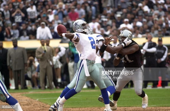 The Cowboys averaged 16 points-per-game when Anthony Wright started at QB in 2001.  Here, Wright passes during Dallas' 28-21 Week 4 loss to the Raiders.