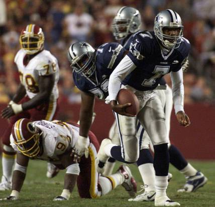 With Troy Aikman on the sideline with a concussion, Randall Cunningham threw for 185 yards and a pair of touchdowns to lead the Cowboys to a 27-21 upset on Monday Night Football.
