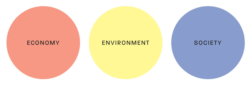 economy, environment, and society in three circles
