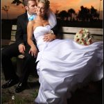 beautiful sunset wedding formal photos bride groom park