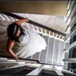 wedding bride preparations stairs