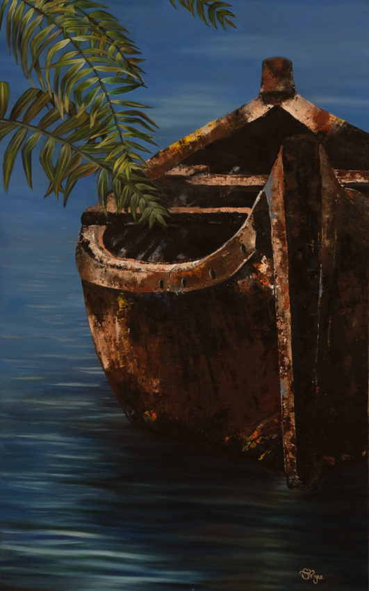 painting-brown-boat-with-palm-tree