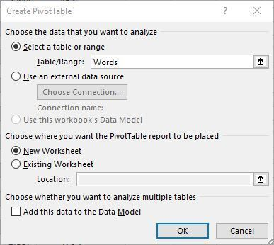 Create Pivot Tables