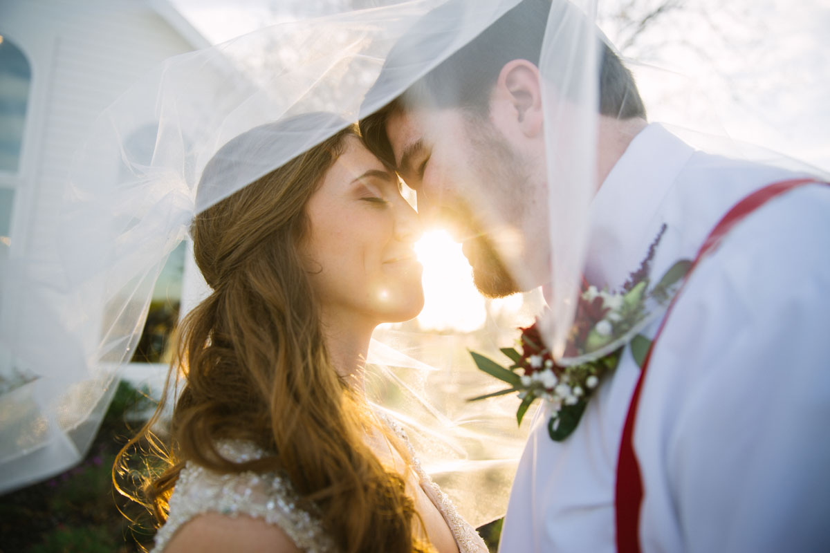 sun in veil wedding