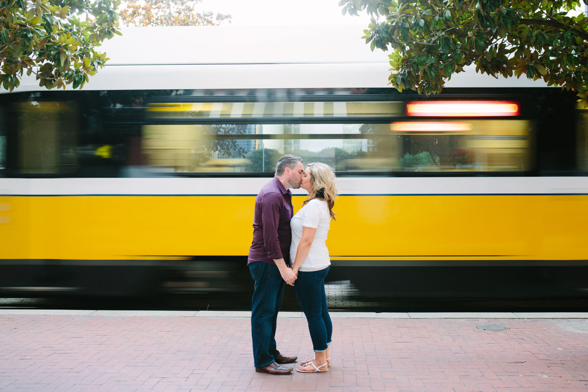Outdoor Engagement Pictures, DART Train