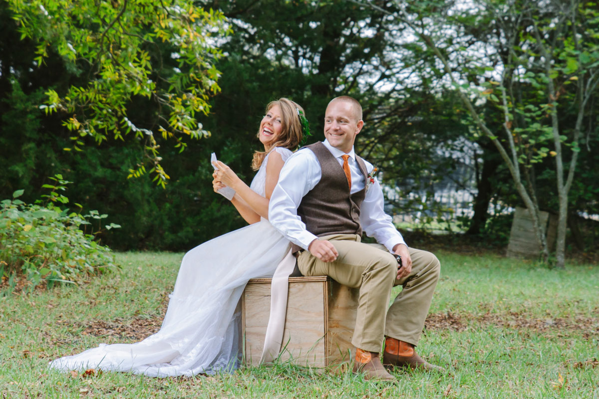 wedding photographer captures First Look and letters at chandlers garden