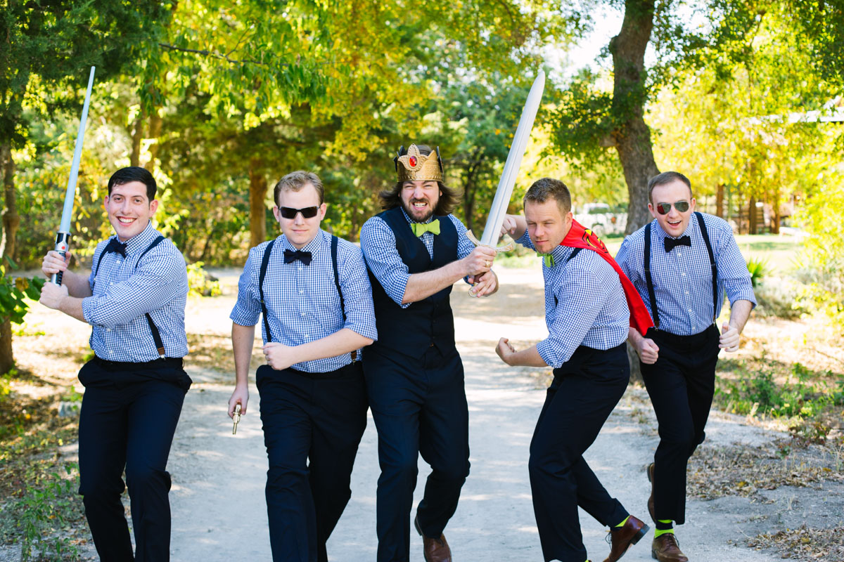 funny Groomsmen photo with Bowties costumes at avalon legacy ranch