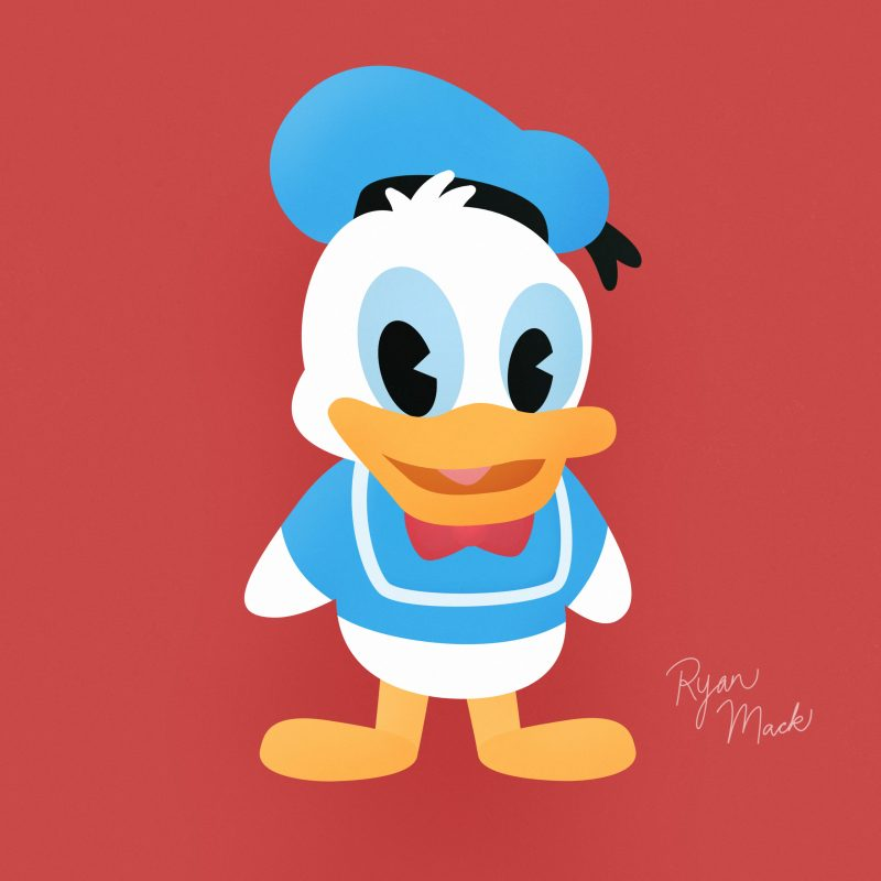 Cute stylized illustration of Donald Duck with sailor hat and bow tie