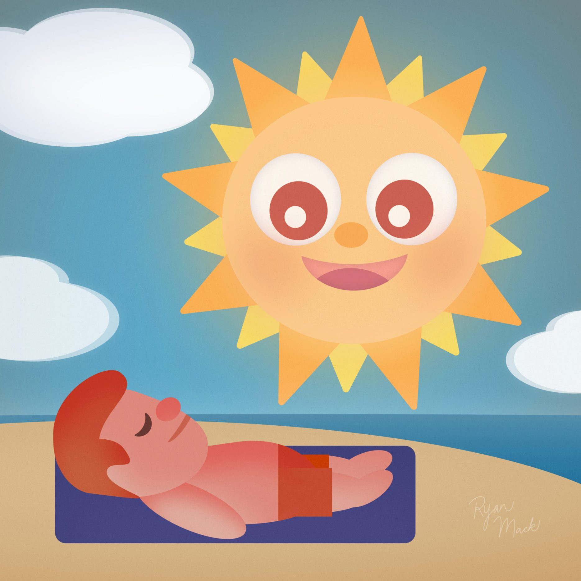 Man Getting Sunburnt by a Smiling Cartoon Sun