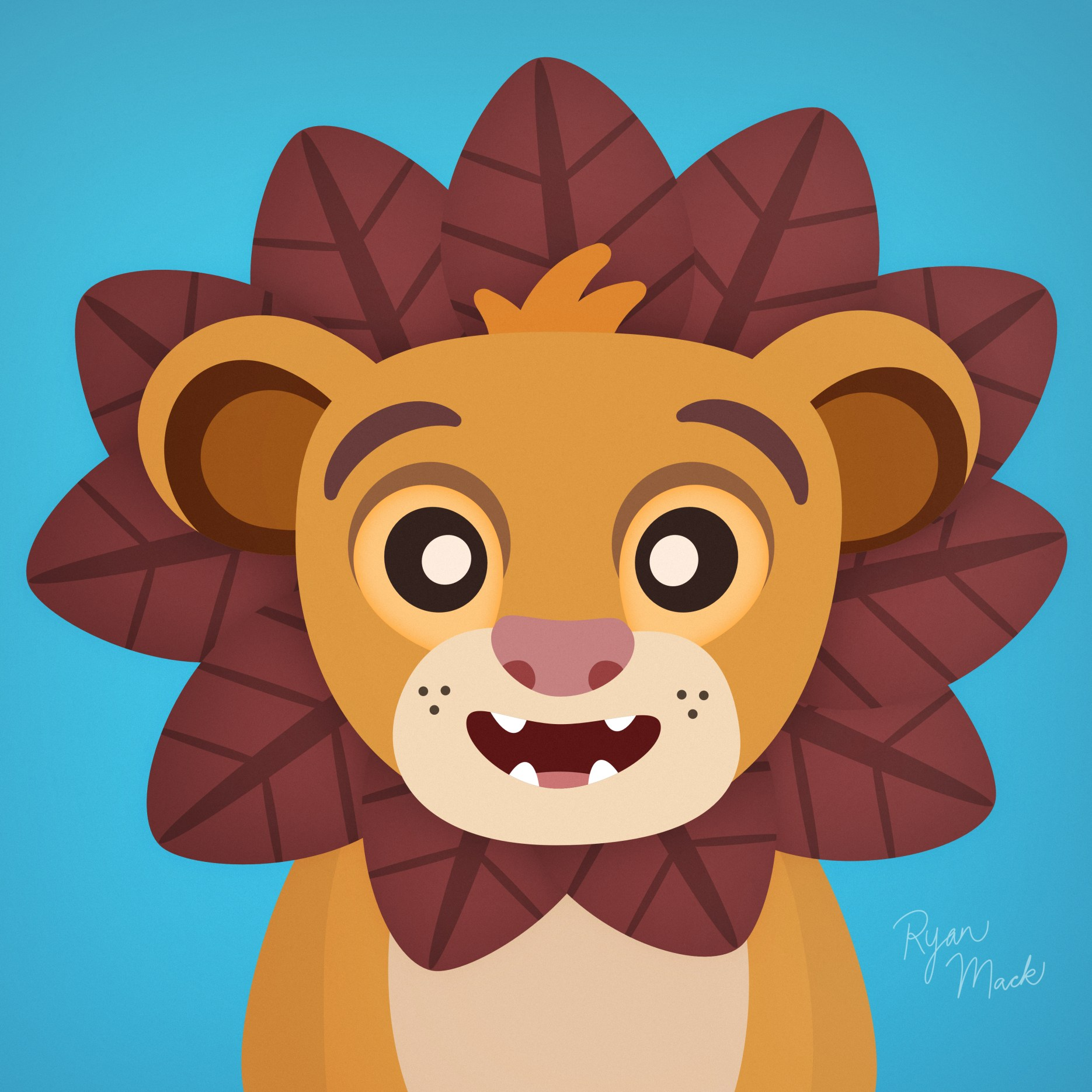 Stylized cute illustration of Young Simba from the Lion King with reddish leaves as a mane