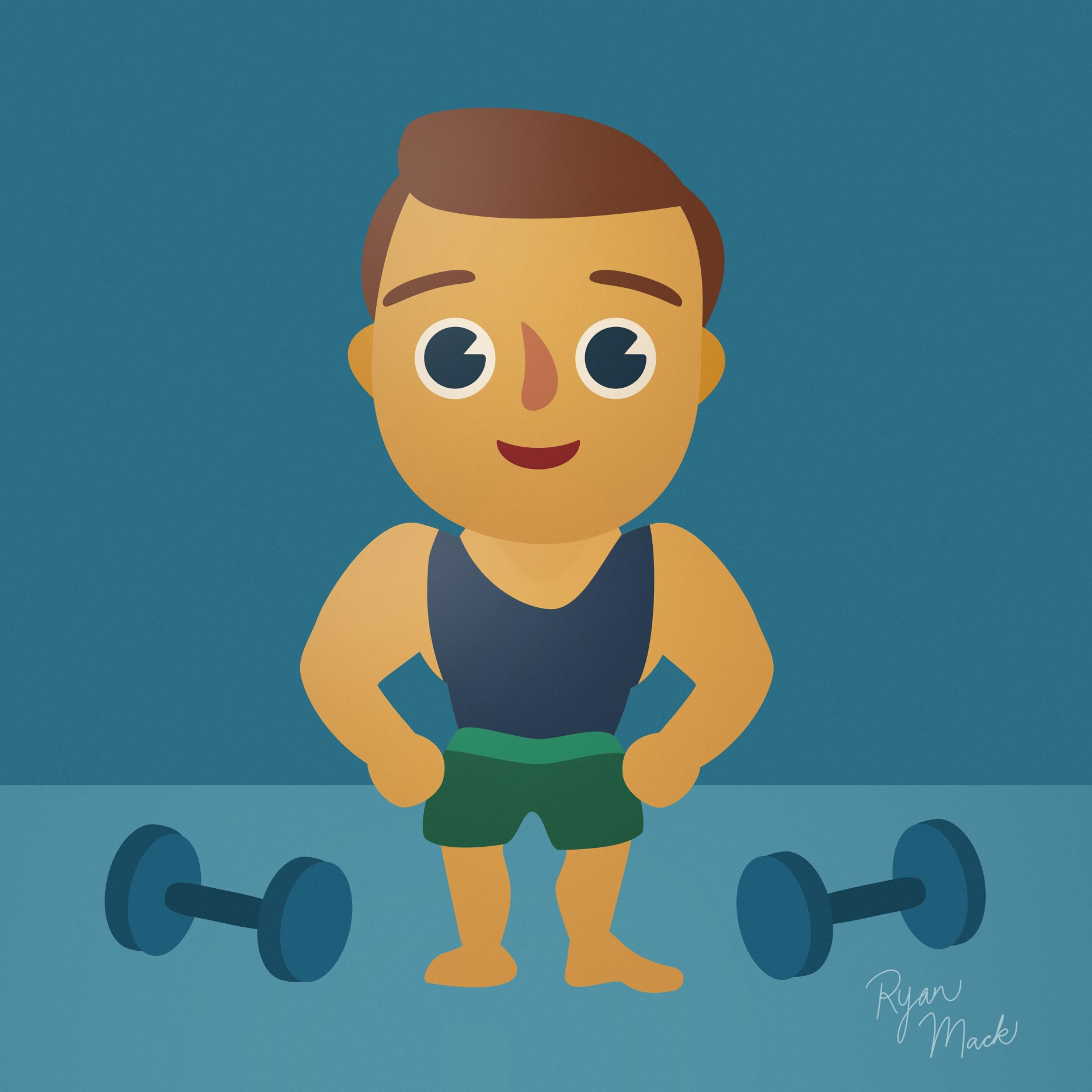 Illustrated Muscle Man in Tank Top with Weights